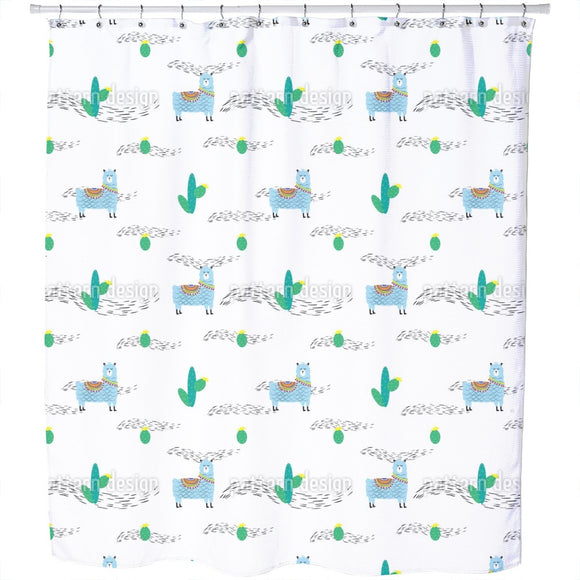 Cute Lama And Cactus Shower Curtain