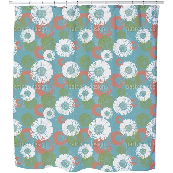 Stamped Blossoms Shower Curtain