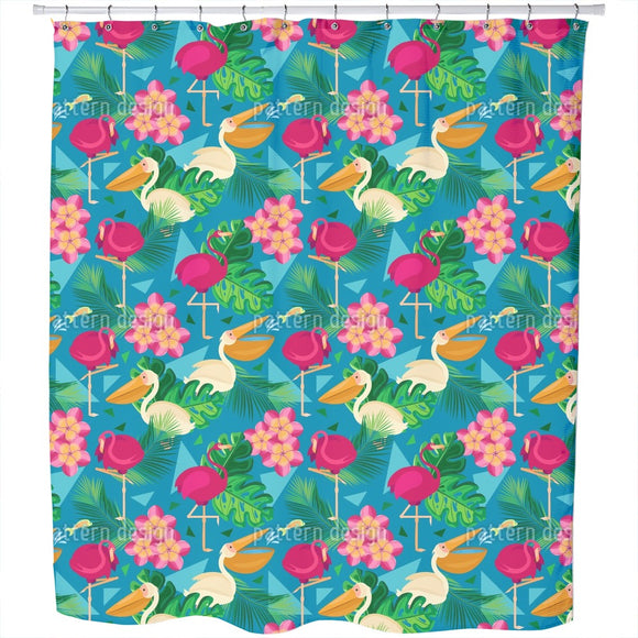 Pelicans And Flamingos  Shower Curtain