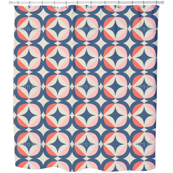 Retro Geometric Elements Shower Curtain