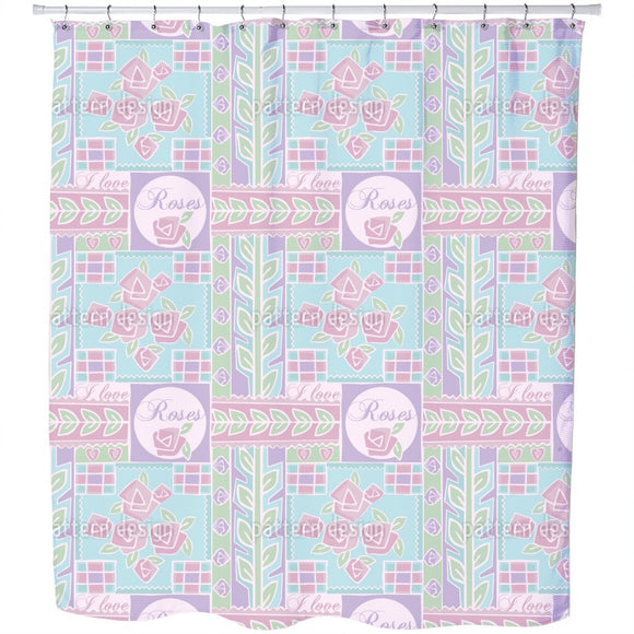 Patchwork Rose Shower Curtain