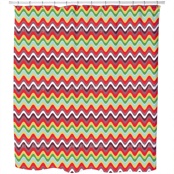 Wavy Retro Vibes Shower Curtain