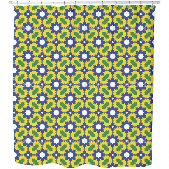 Arabic Floral Mosaic Shower Curtain