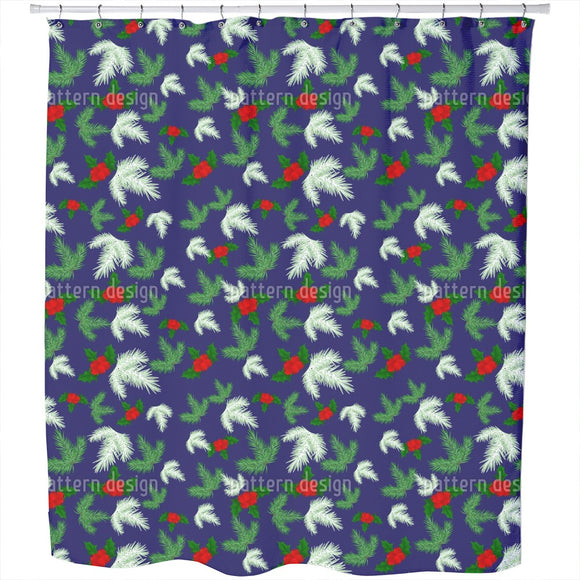 Winter Berry Fir Shower Curtain