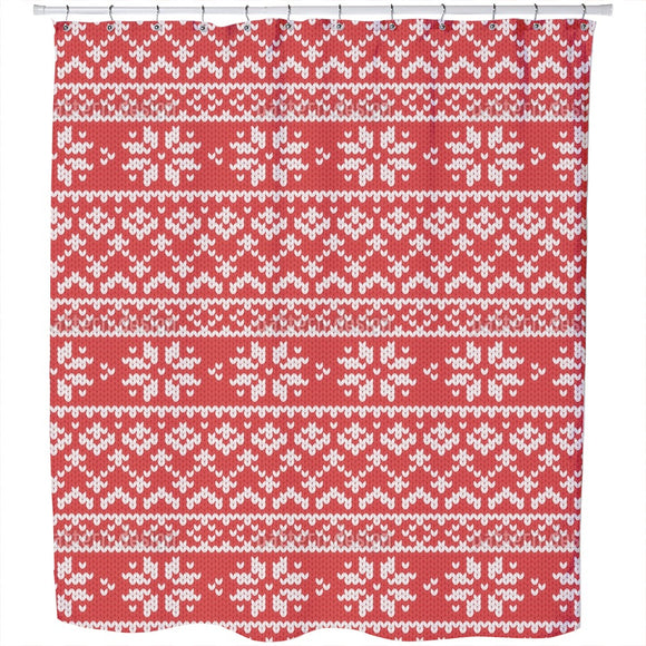 Winter Knitting Shower Curtain