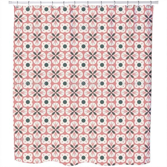 Bloom In Retro Style Shower Curtain