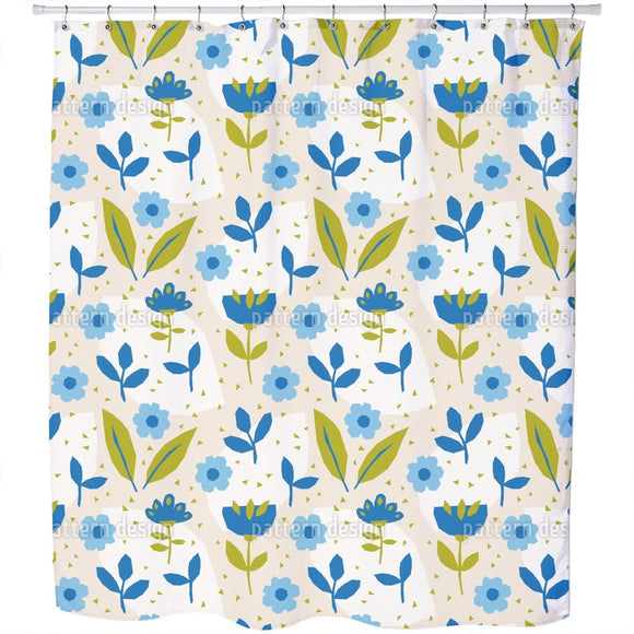 Aqua Flowers Shower Curtain
