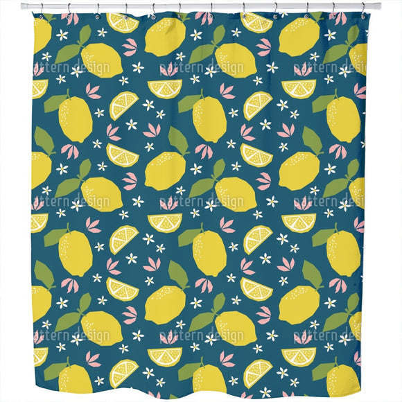 Lemons And Flora Shower Curtain
