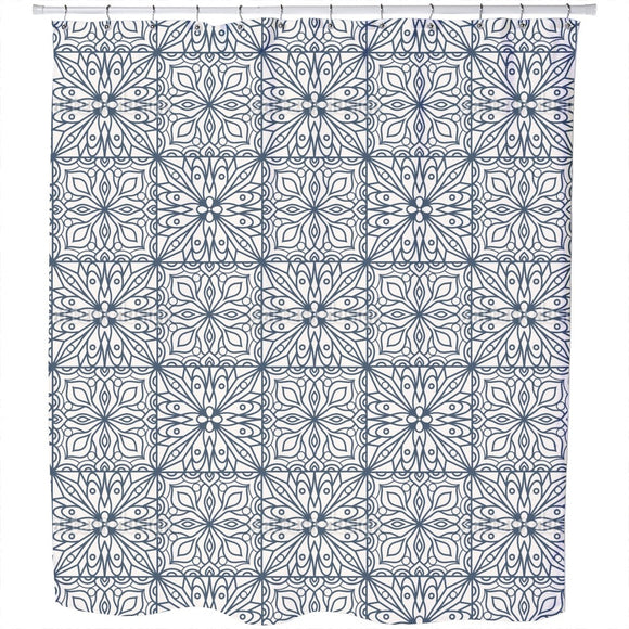 Abstract Floral Tiles Shower Curtain