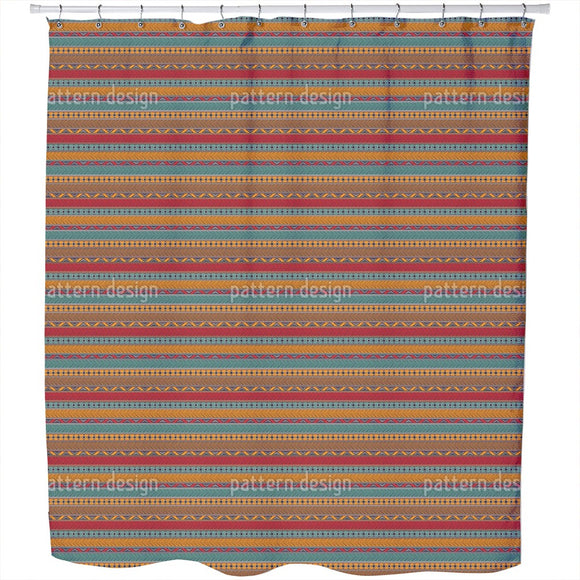 Tribal Ethnic Borders Shower Curtain