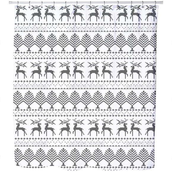 Knitted Winter Theme Shower Curtain