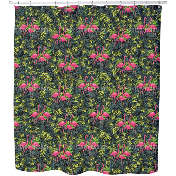 Flamingos In The Tropics Shower Curtain