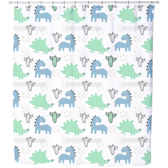 Dinosaurs And Cacti Shower Curtain