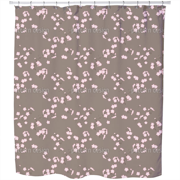Cherryblossoms Brown Shower Curtain