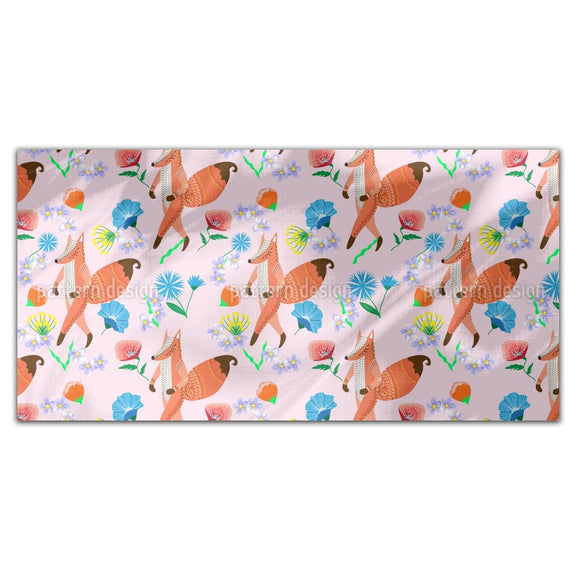 Folk Fox And Flowers Rectangle Tablecloths