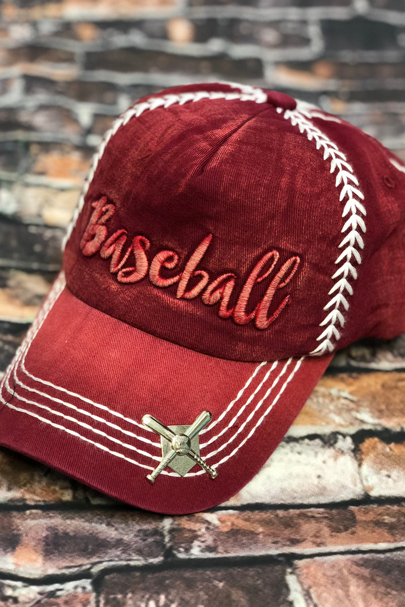 Embroidered Baseball Hat-Red