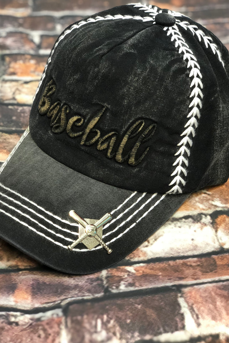 Embroidered Baseball Hat-Black