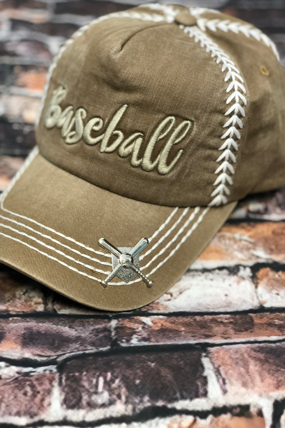 embroidered baseball hat khaki