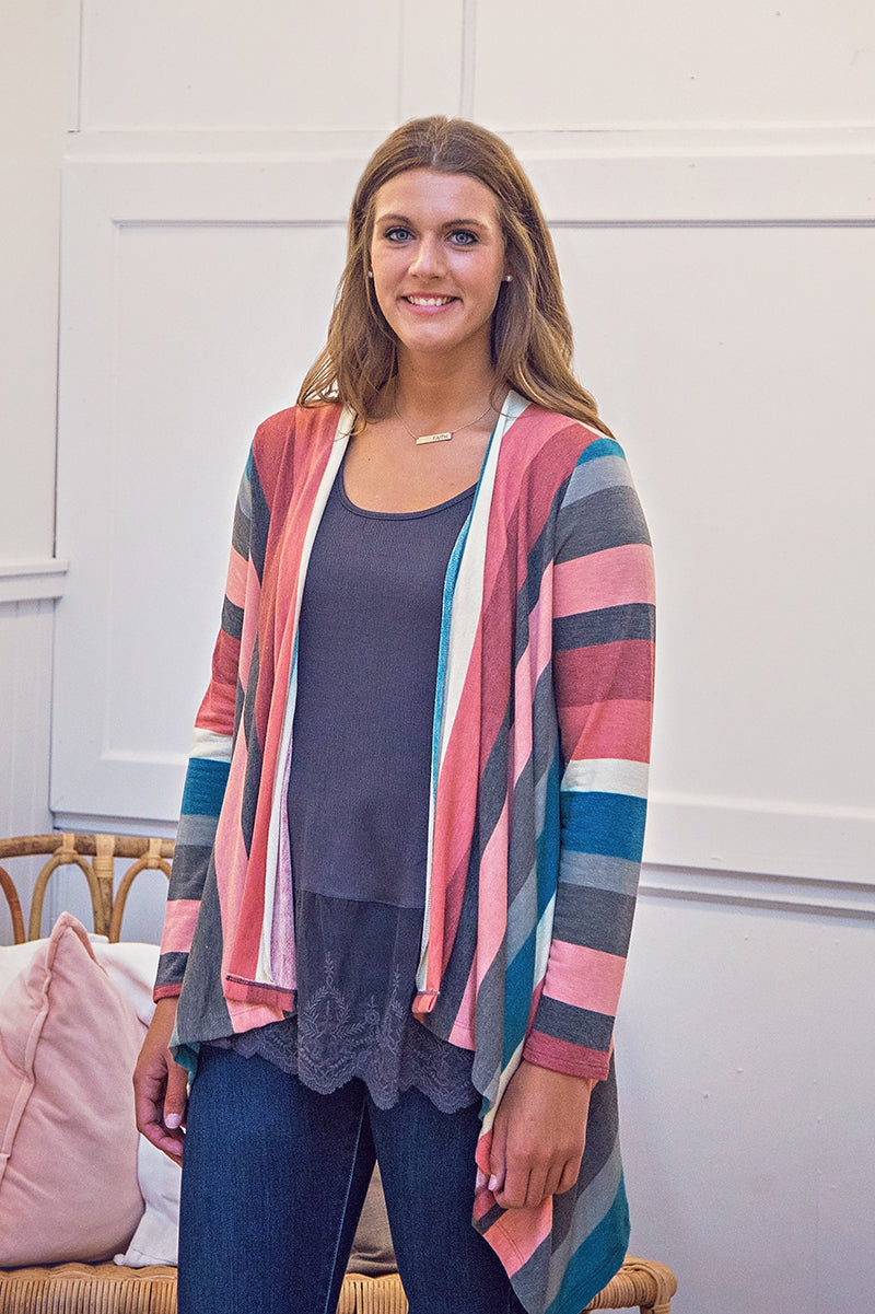 Berry Striped Cardigan