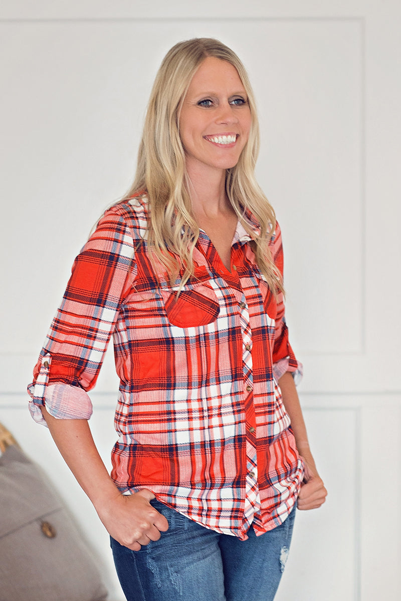 Red Plaid Button-Up