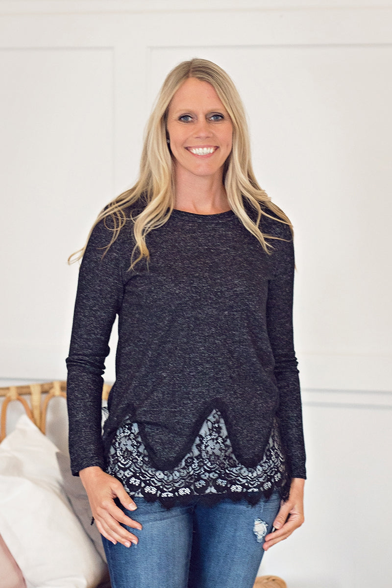 Copy of Black Sweater with Lace Trim