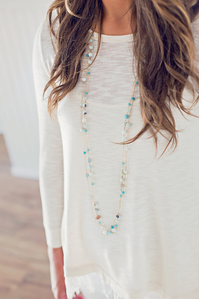 Double Strand Beaded Necklace - Mint