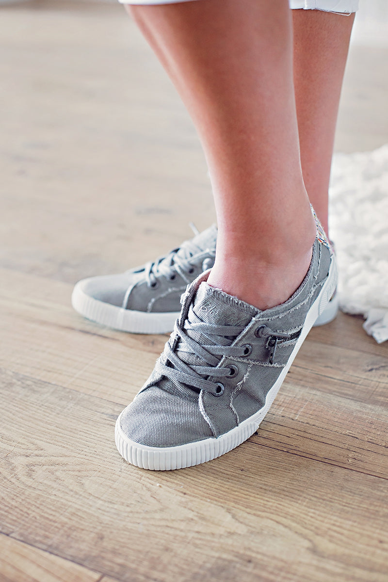 Wolf Grey Zipper Sneaker
