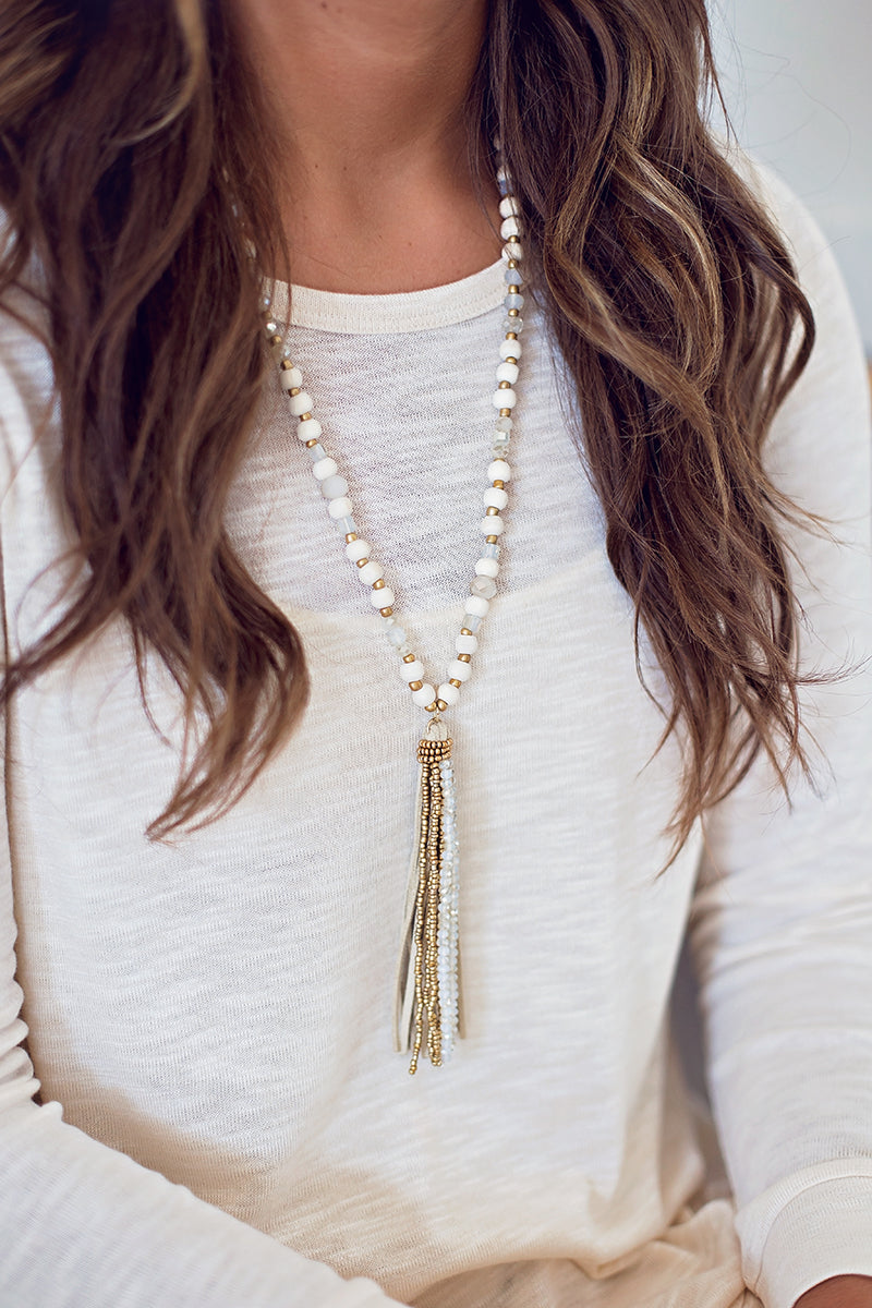 Natural Boho Tassel Necklace
