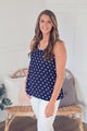 Polka Dot Tank with Zipper Accent