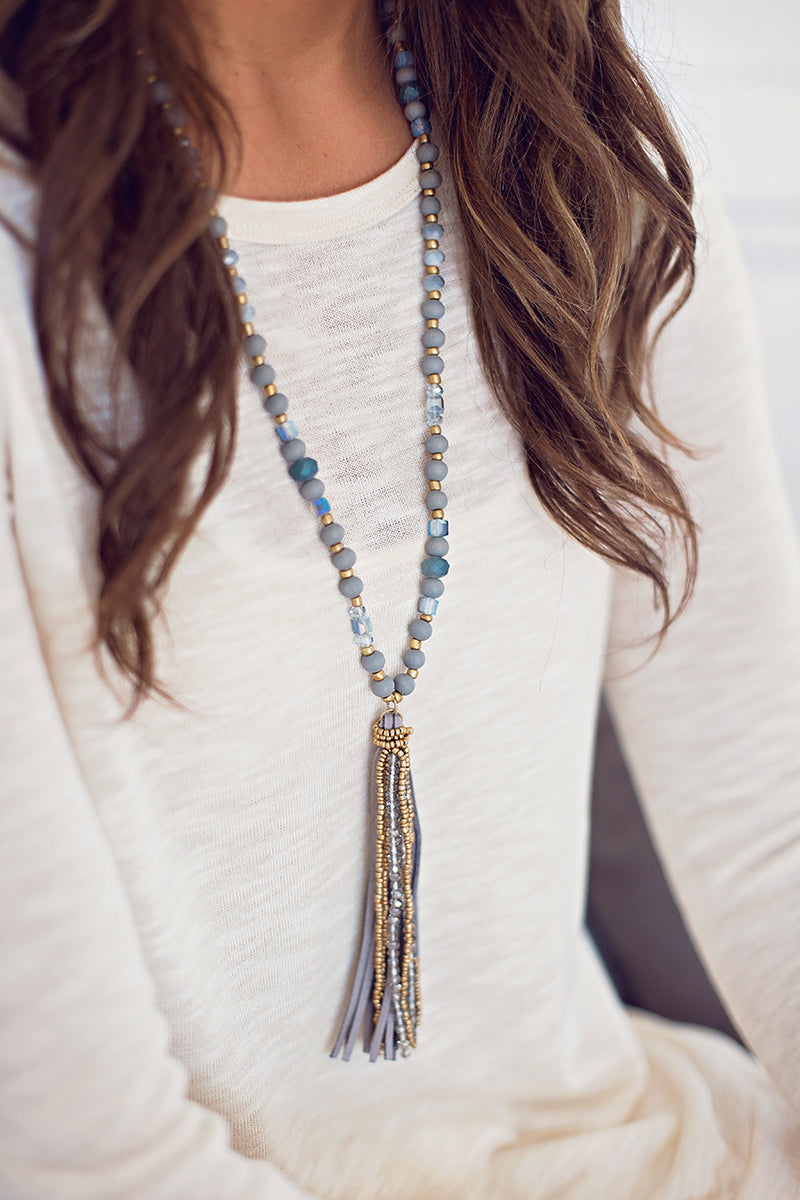 Grey Boho Tassel Necklace