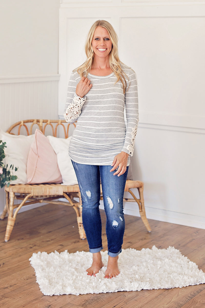 Crochet Sleeve Tunic - Heather Grey/White