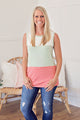 Color Block Tank - Sage