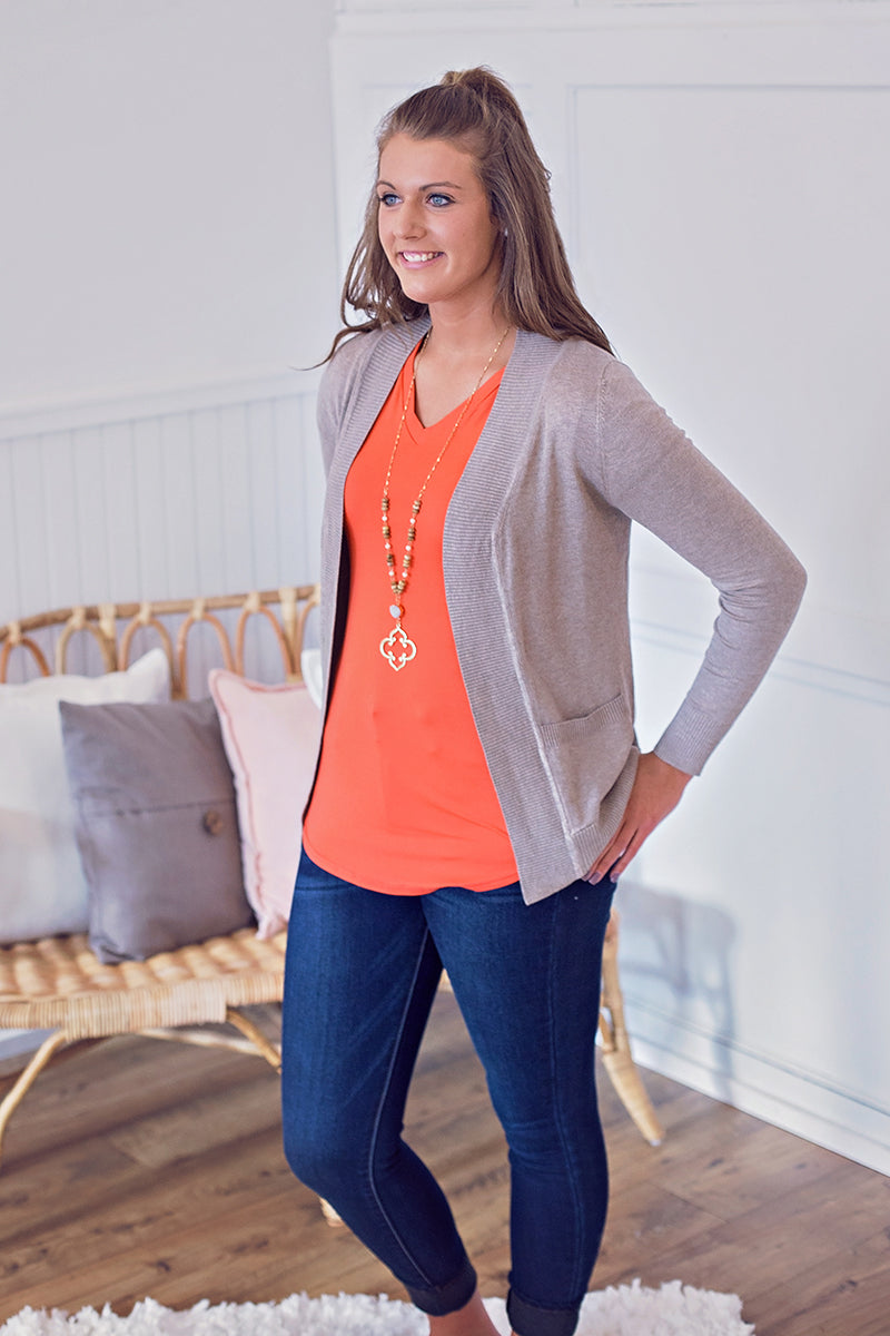 Soft Stretch Cardigan - Camel