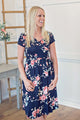 Floral Tie Dress - Navy