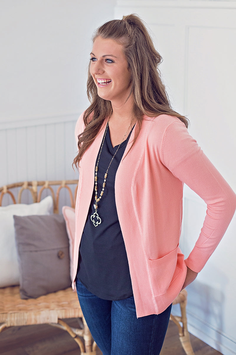 Soft Stretch Cardigan - Peach