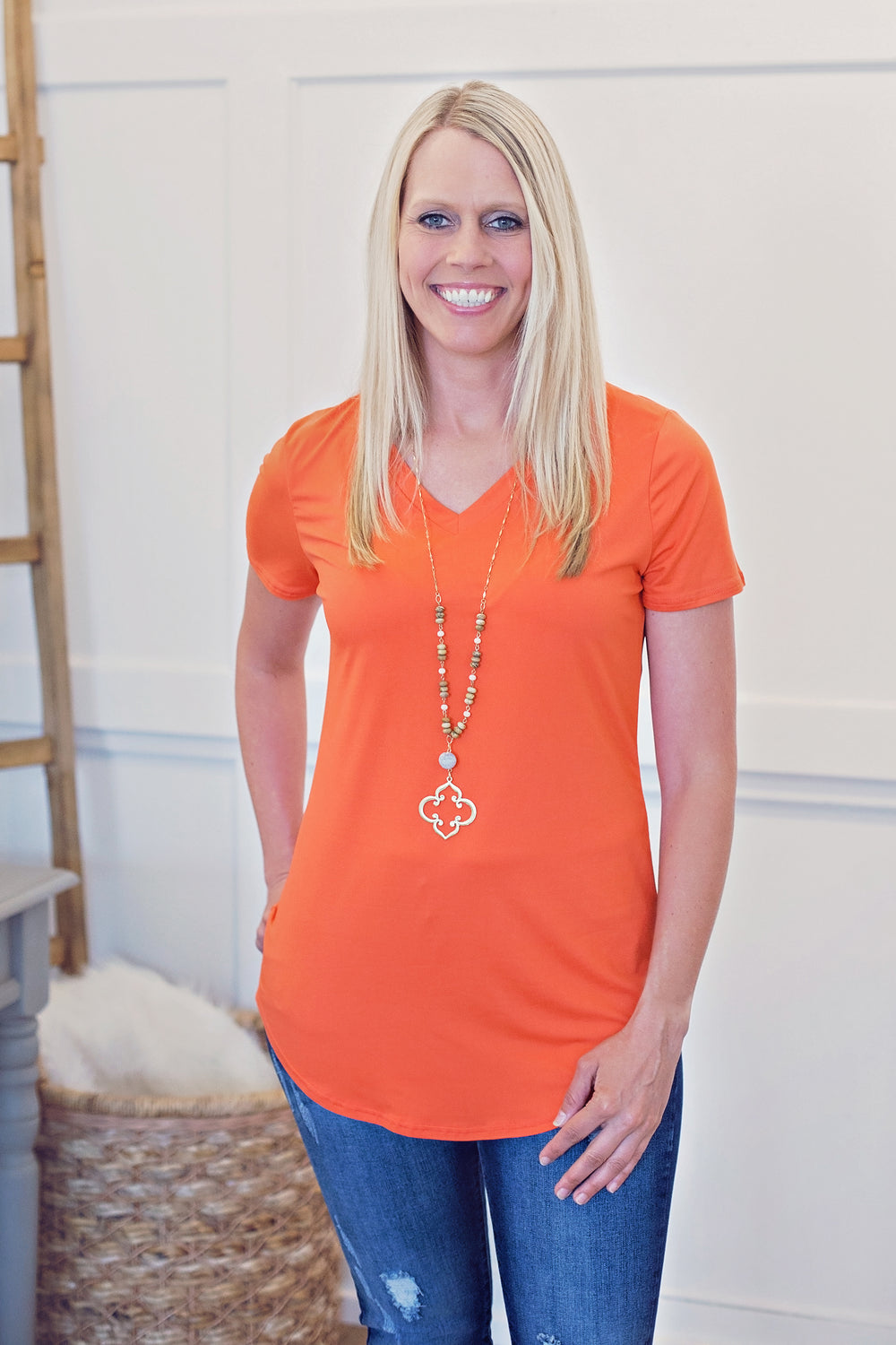 Jersey V-Neck Tee - Bright Coral