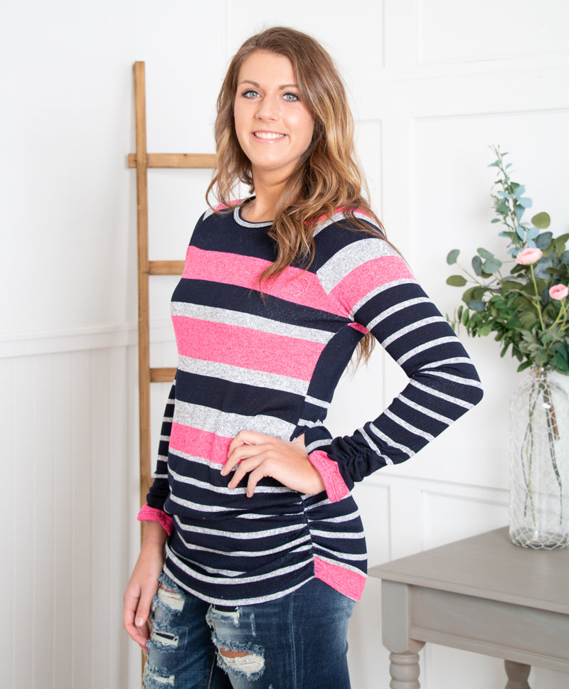 Navy and Hot Pink Knit Tunic