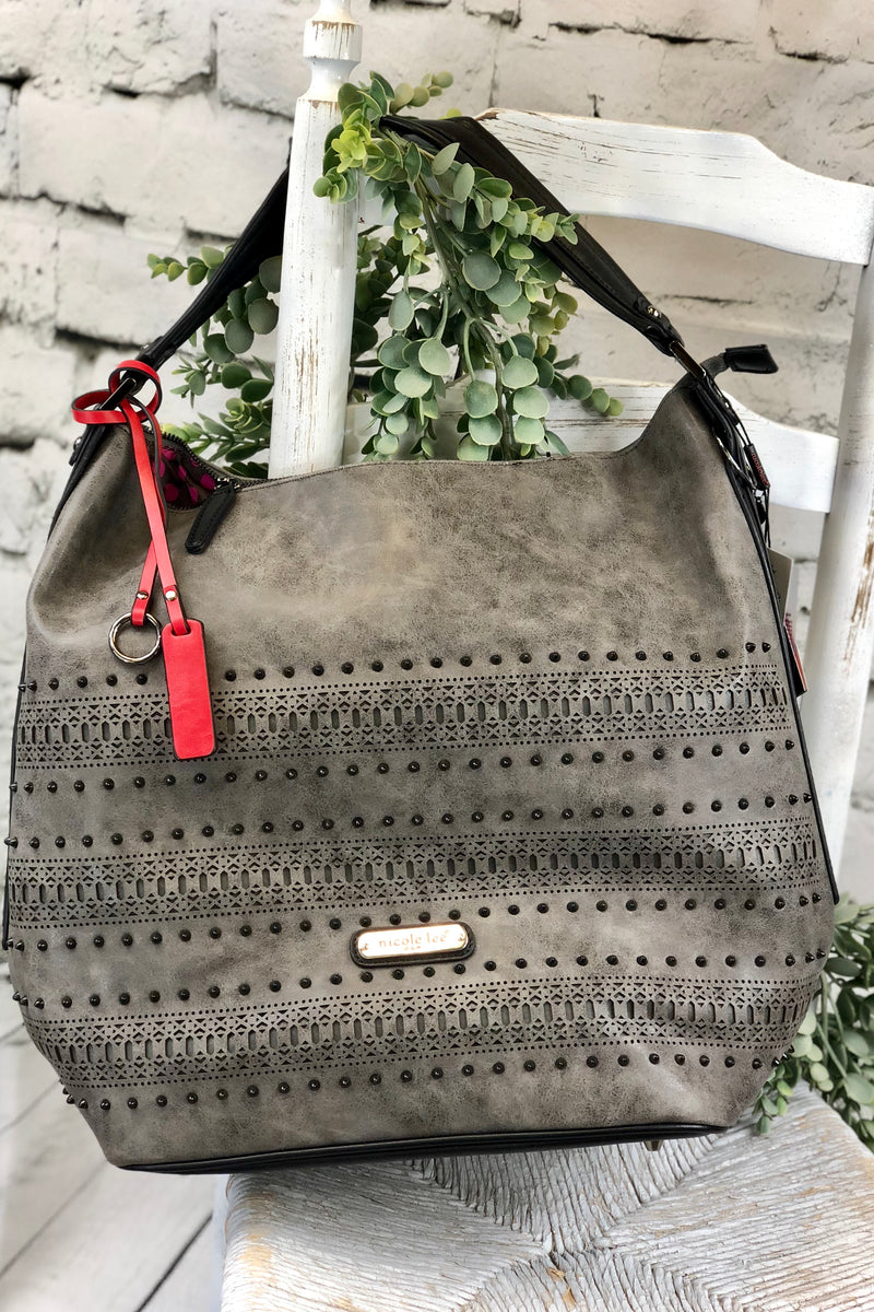 Laser Cut Hobo Bag - Grey