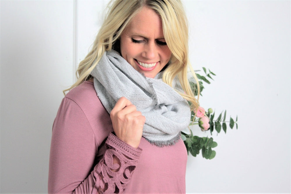 Inside-Out Sweater Infinity Scarf - Gray