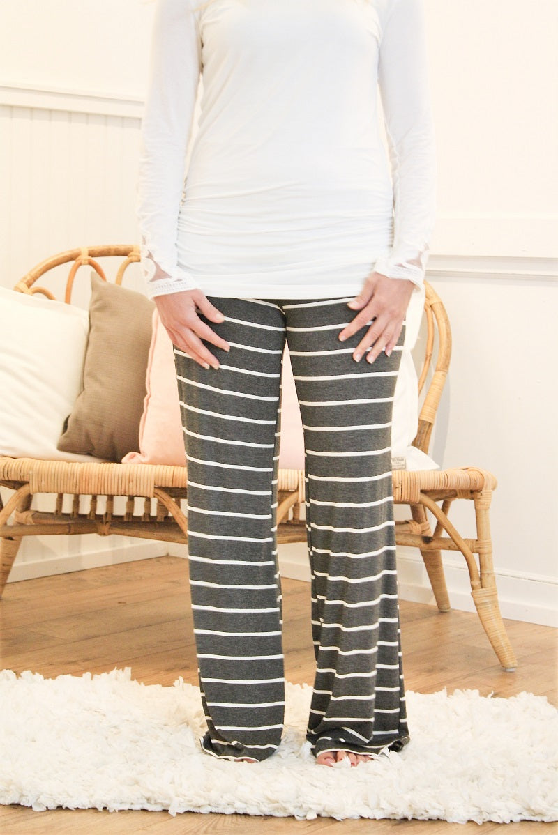 Jersey Lounge Pant - Charcoal Stripe