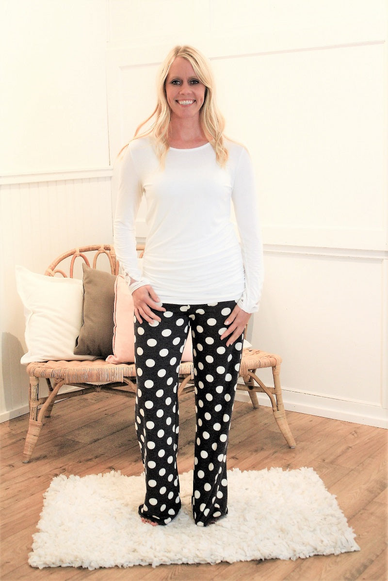 Lounge Pant - Charcoal Polka Dot