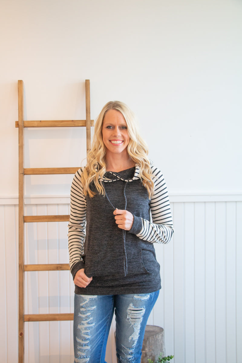 Charcoal Hoodie with Stripe Sleeves