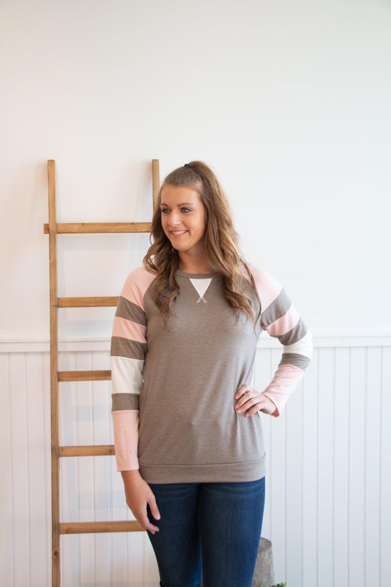 Mocha Sweatshirt with Stripe Accent