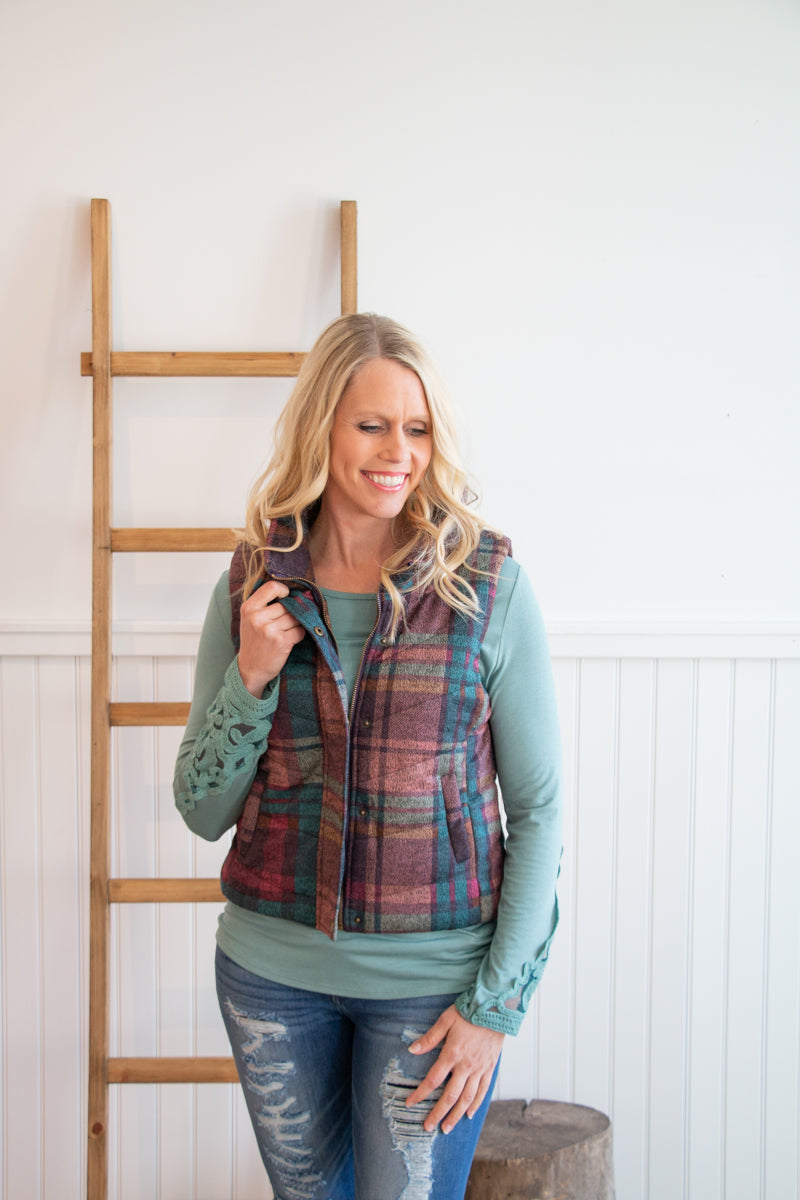 Plum Plaid Vest