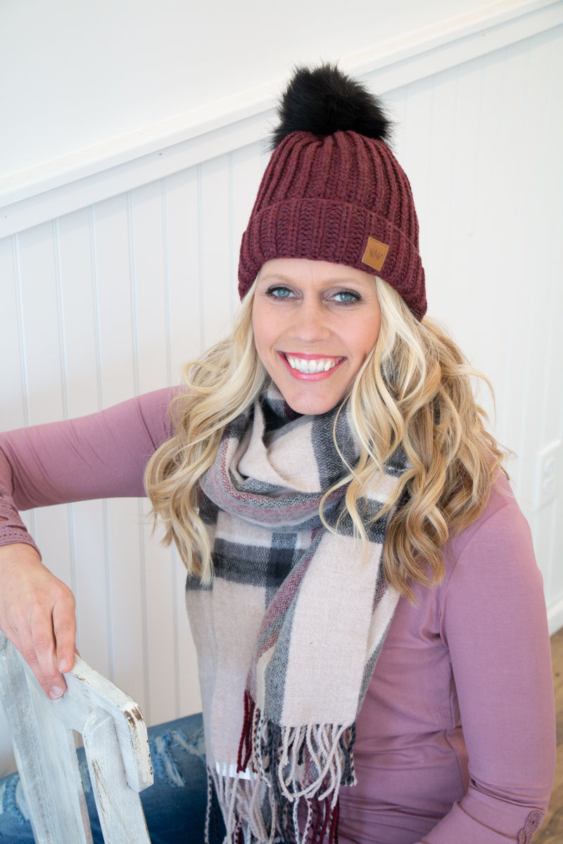 Fleece Lined Knit Hat - Burgundy