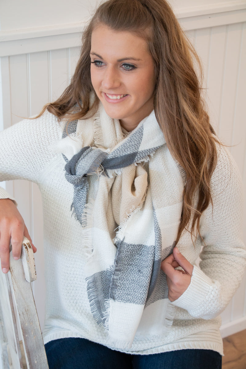 Camel Plaid Blanket Scarf