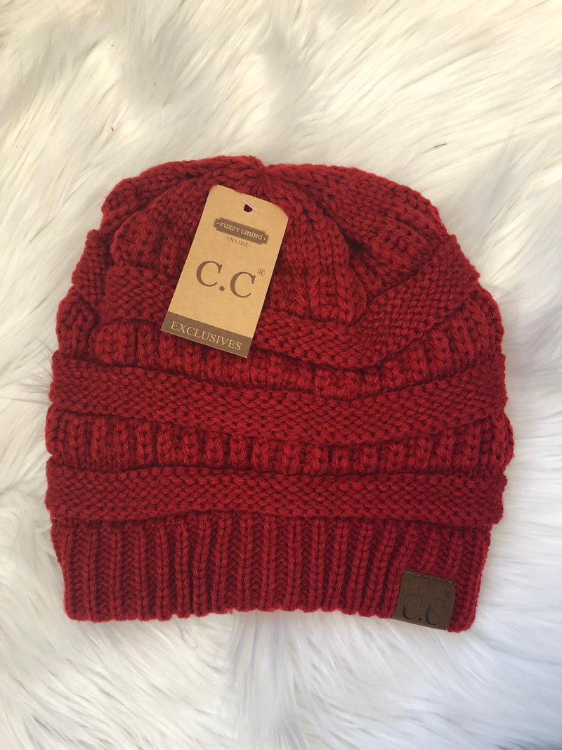 C.C Fleece Lined Beanie - Wine