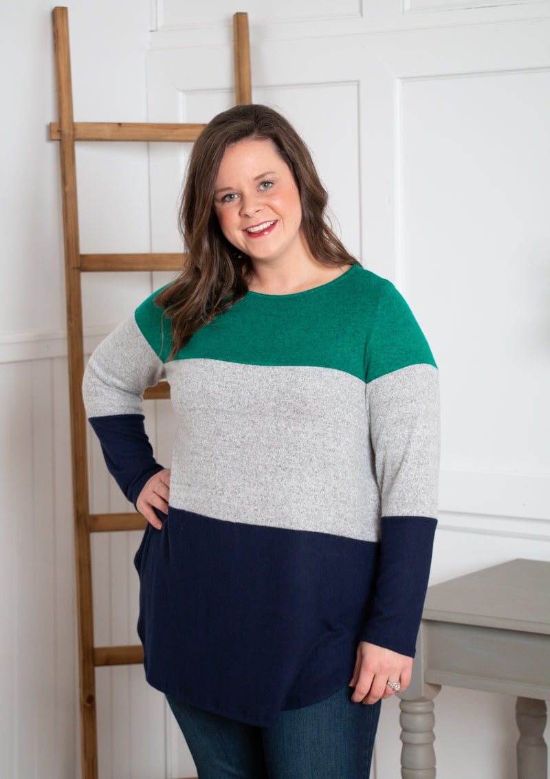 Emerald Color Block Sweater