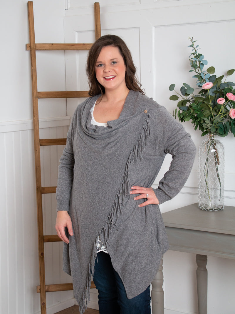 Sweater Wrap Cardigan - Grey