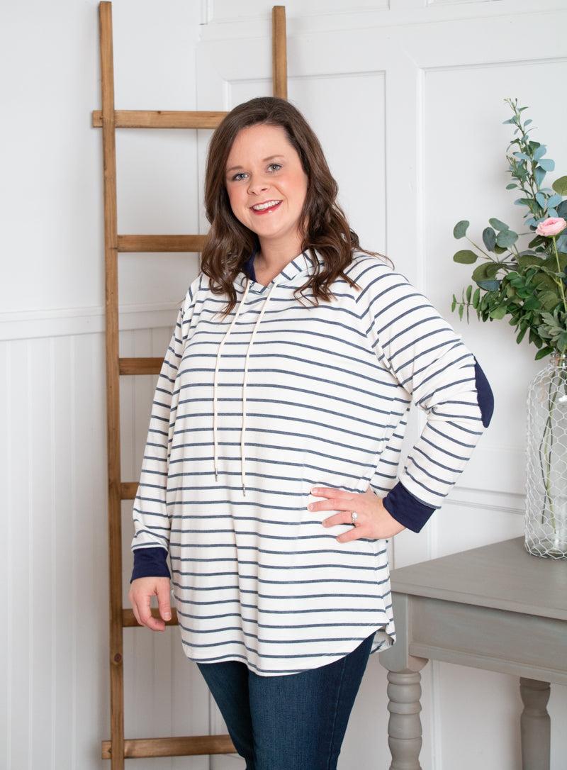 Stripe Hooded Sweatshirt-White/Navy